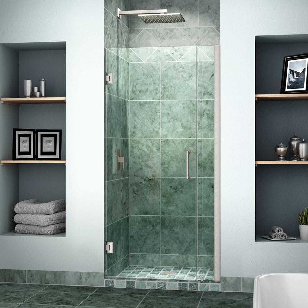 DreamLine Unidoor 30 to 31 in. x 72 in. Frameless Hinged Pivot Shower Door in Brushed Nickel with Handle