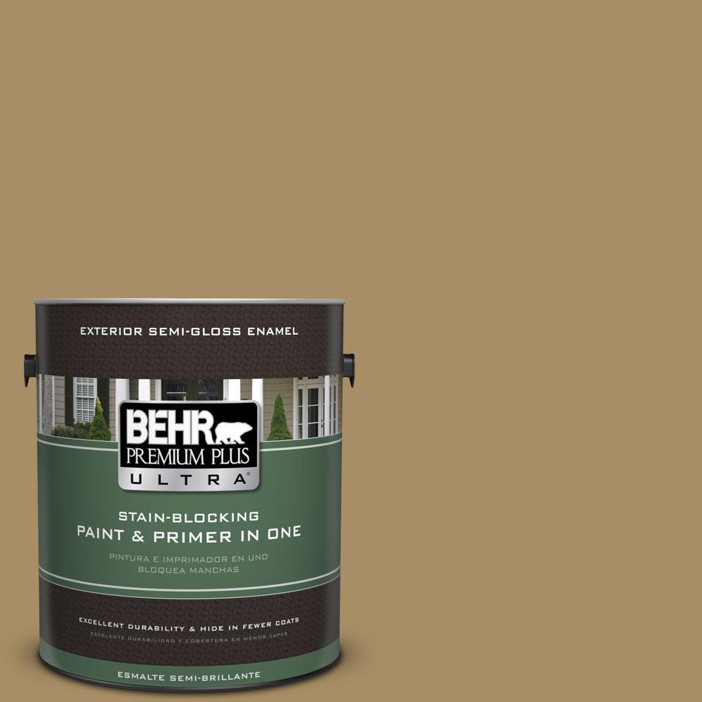 BEHR Premium Plus Ultra 1-gal. #350F-6 Fossil Butte Semi-Gloss Enamel Exterior Paint