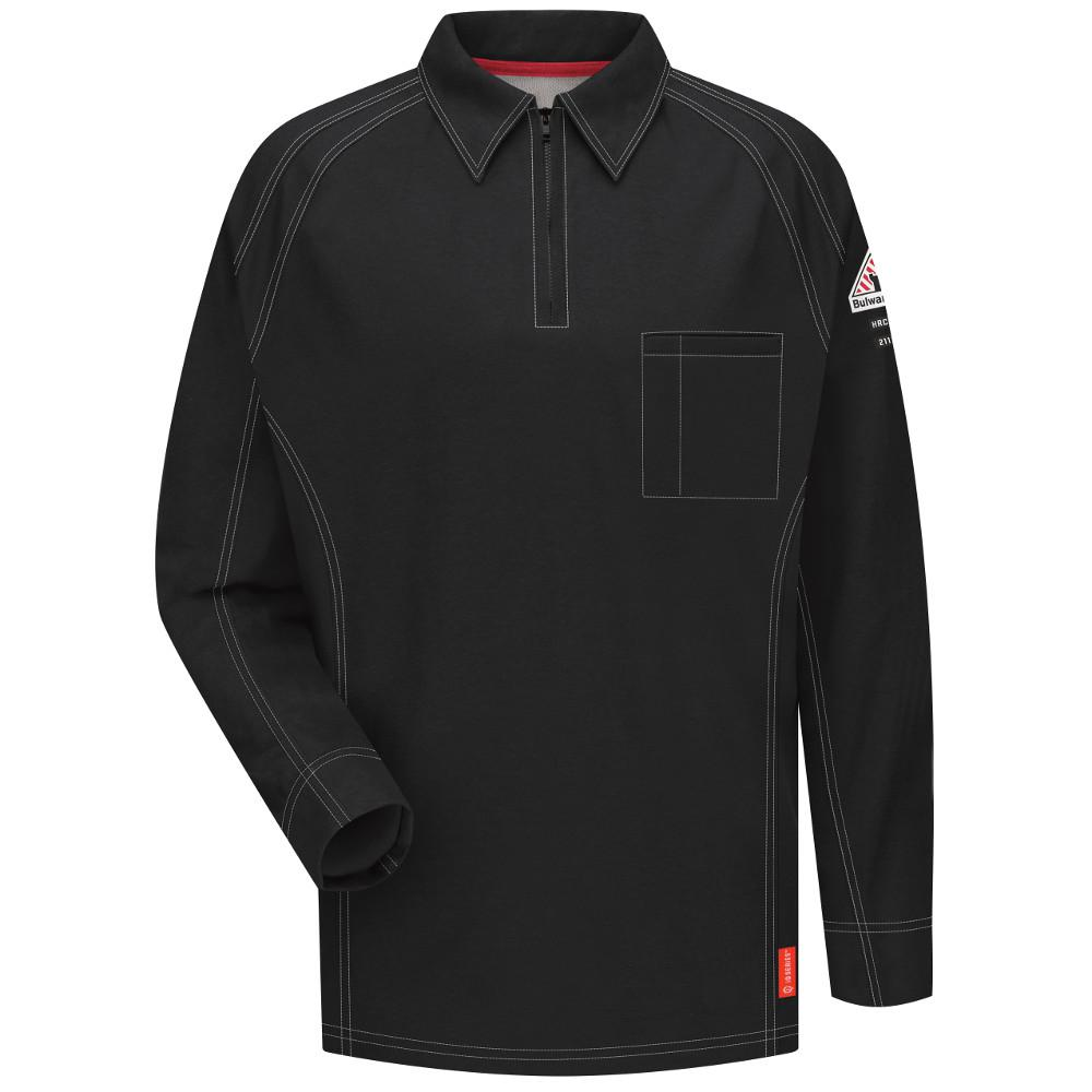 8a7884cabf87 Bulwark IQ Men s Medium Black Long Sleeve Polo-QT12BK RG M - The ...