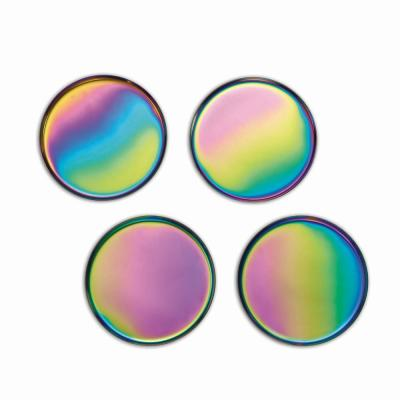 Glimmer 4-Piece Iridescent Metal Coaster Set