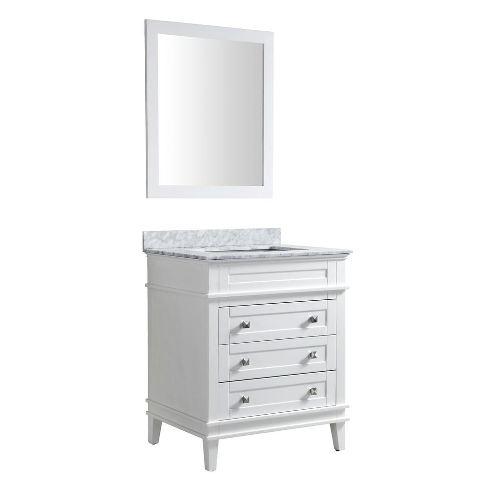 ANZZI Wineck 36 in. W x 35 in. H Bath Vanity in Rich White with Marble Vanity Top in Carrara White with White Basin and Mirror