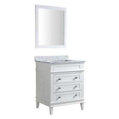 Wineck 36 in. W x 35 in. H Bath Vanity in Rich White with Marble Vanity Top in Carrara White with White Basin and Mirror
