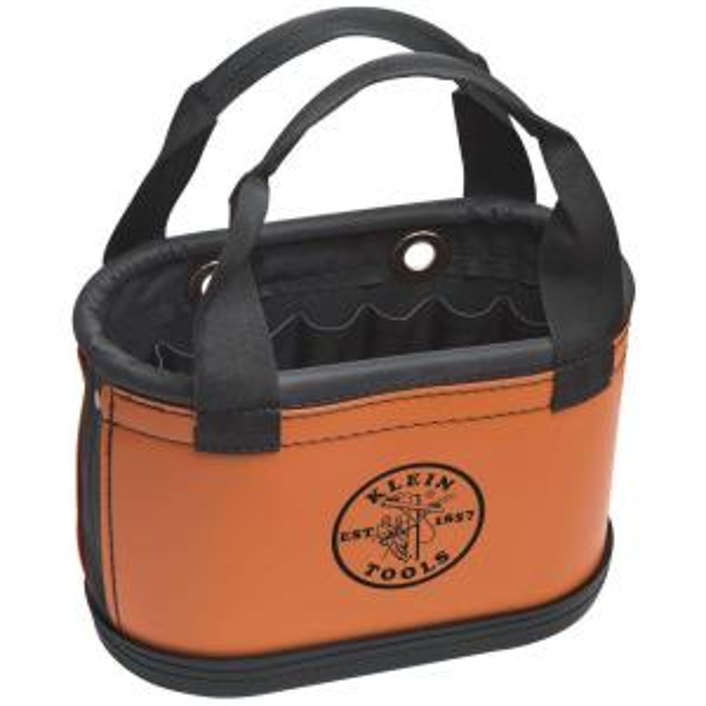 Hard-Body Bucket, 15-Pocket Oval Bucket, Orange/Black