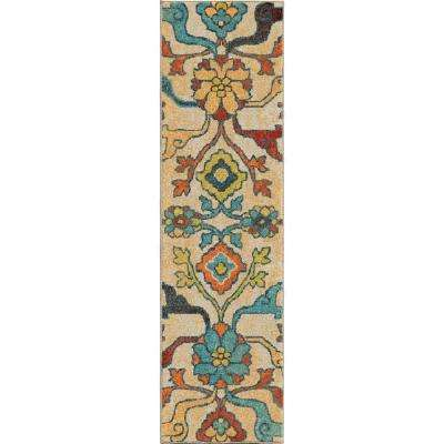 Punjab Multi Floral Bright Colors 2 ft. x 8 ft. Indoor Runner Rug