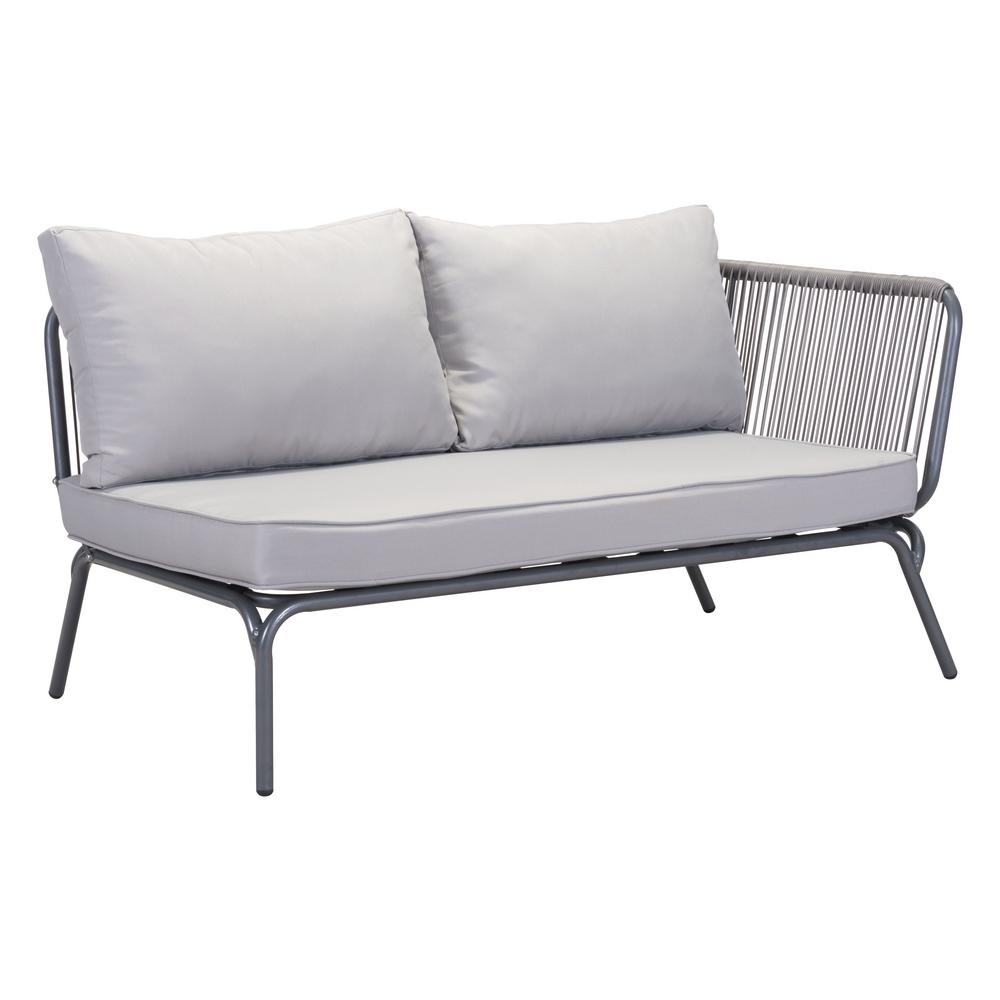 ZUO Pier Gray Wicker Outdoor Patio Loveseat With Gray Cushions