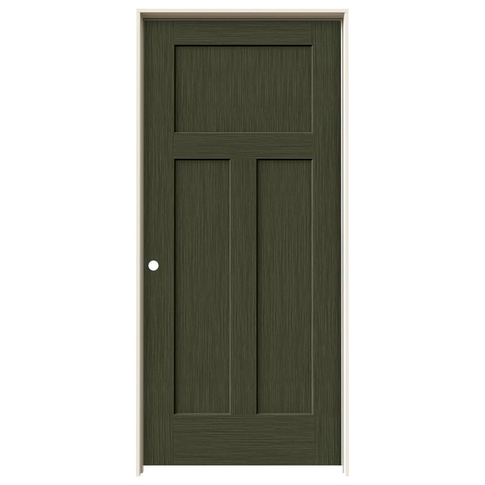 Jeld wen 36 in x 80 in craftsman juniper stain right for Solid core mdf interior doors