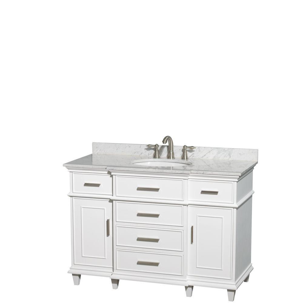 Wyndham Collection Berkeley 48 in. Vanity in White with Marble Vanity Top in Carrara White and Oval Basin