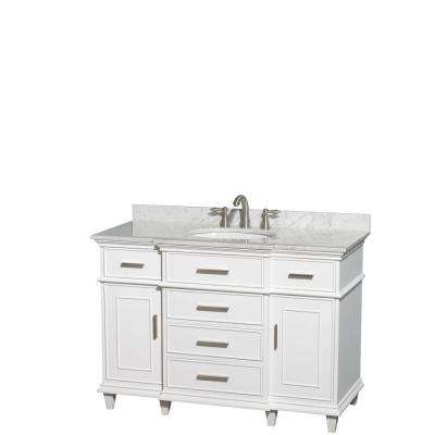 Berkeley 48 in. Vanity in White with Marble Vanity Top in Carrara White and Oval Basin