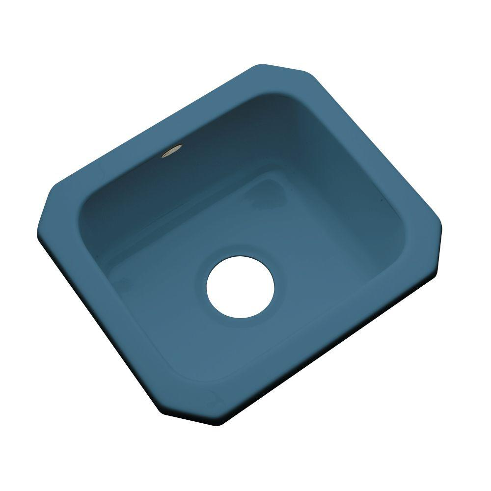 Thermocast Manchester Undermount Acrylic 16 in. 0-Hole Single Basin Kitchen Sink in Rhapsody Blue