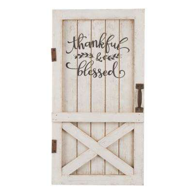 17.95 in. H Wooden Thanksgiving Barn Door Wall Decor or Standing Decor