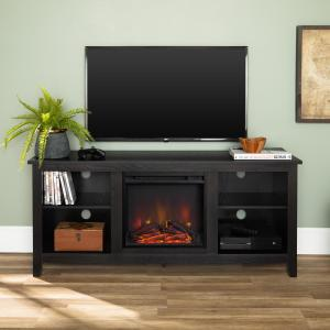 58 in. Rustic Farmhouse Fireplace TV Stand - Black