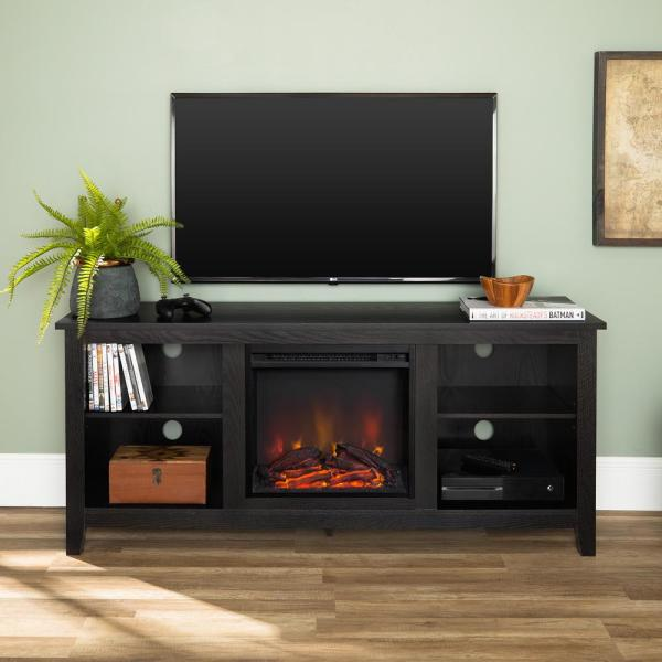 Walker Edison Furniture Company 58 in. Rustic Farmhouse Fireplace TV Stand - Black