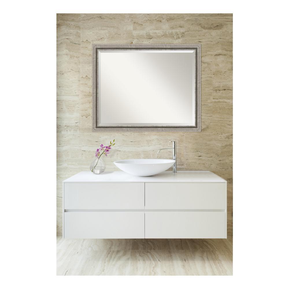 Bel Volto Silver Pewter Wood 31 in. W x 25 in. H Single Contemporary Bathroom Vanity Mirror