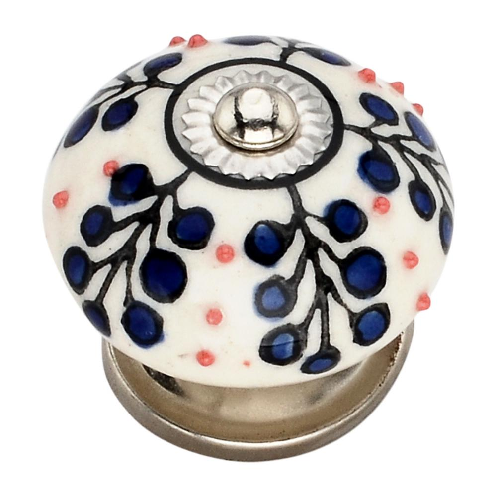 Mascot Hardware Dotted Tree 1.57 in. Blue Cabinet Knob