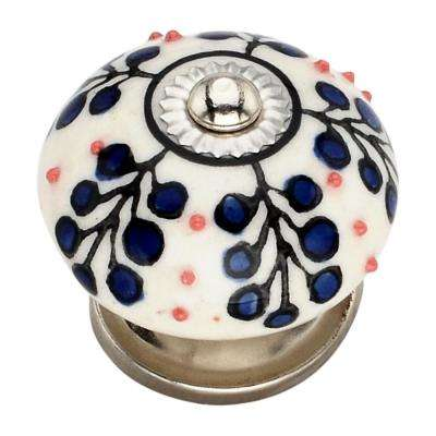 Dotted Tree 1.57 in. Blue Cabinet Knob