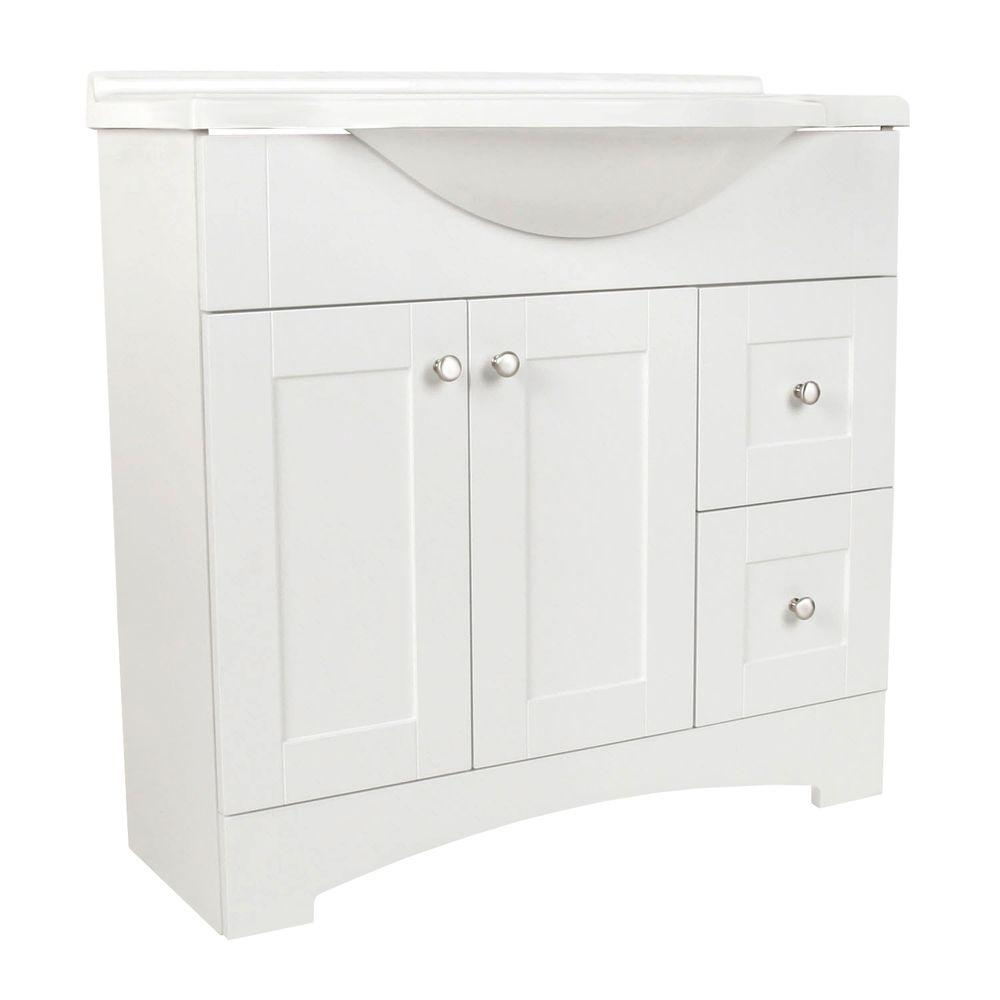 Glacier Bay Del Mar 37 in. W x 36 in. H x 19 in. D Bathroom Vanity in White with Cultured Marble White Vanity Top