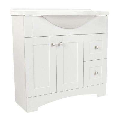 Del Mar 36 in. W x 36 in. H x 19 in. D Bathroom Vanity in White with Cultured Marble White Vanity Top