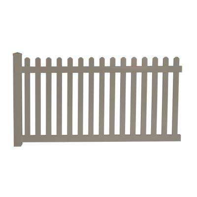 Cheyenne 4 ft. H x 8 ft. W Khaki Vinyl Picket Fence Panel EZ Pack
