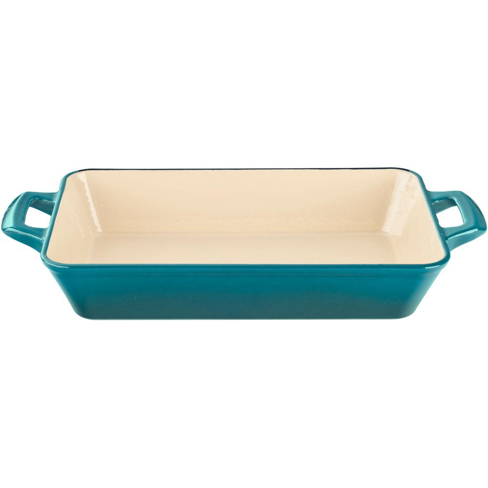 Large Deep Cast Iron Roasting Pan with Enamel in High Gloss