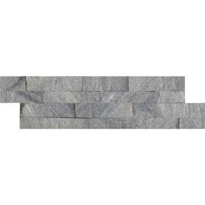 Sky Gray Mini Ledger Panel 4.5 in. x 16 in. Natural Quartzite Wall Tile (5 sq. ft. / case)