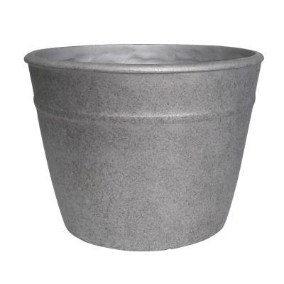 Rushmore 14 in. x 10.5 in. Gray High-Density Resin Planter