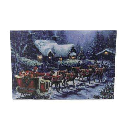 15.75 in. LED Lighted Santa Claus in Sleigh Christmas Canvas Wall Art