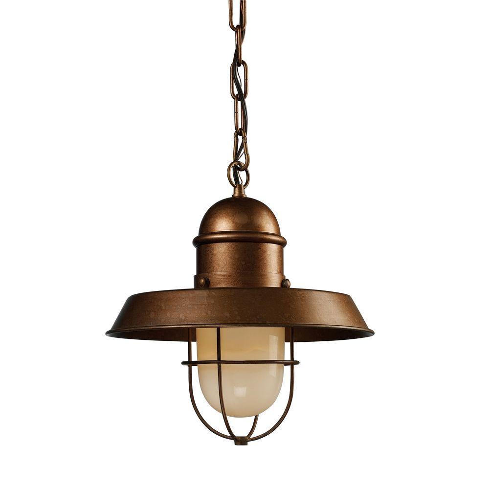 Home Depot Pendant Lights: Titan Lighting Farmhouse 1-Light Bellwether Copper Ceiling