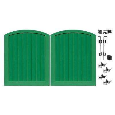 Pro Series 5 ft. W x 6 ft. H Green Vinyl Anaheim Privacy Double Drive Through Arched Fence Gate
