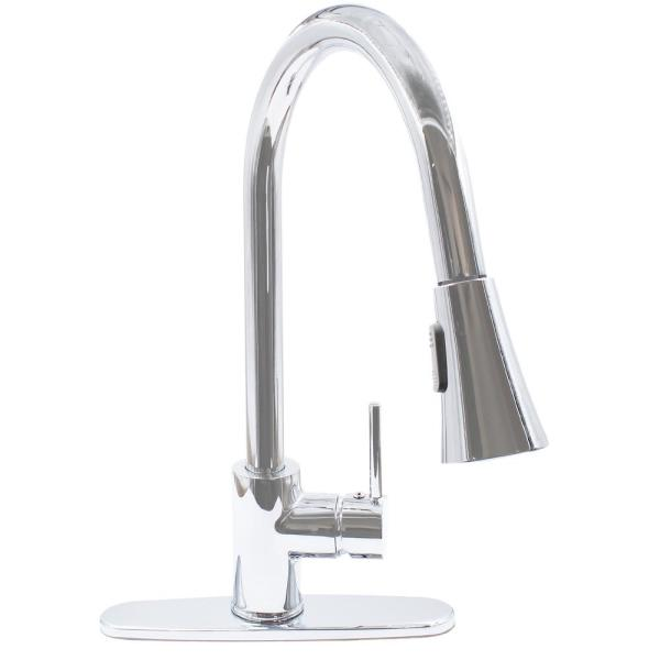 Dual Action Single Lever Pull-down Kitchen Faucet with Deck Plate in Chrome