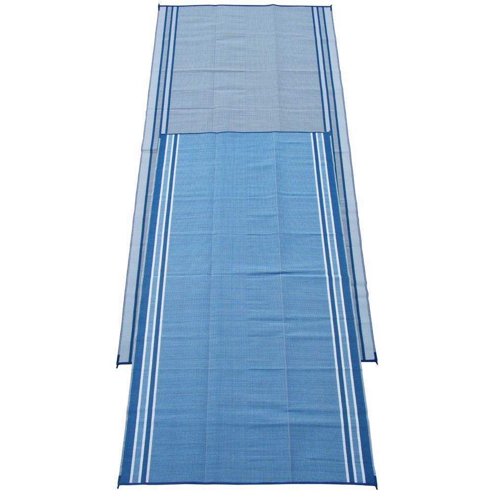 Hawaiian Blue 9 ft. x 18 ft. Polypropylene Indoor/Outdoor Reversible Patio/RV Mat