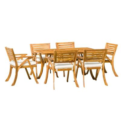 Hermosa Teak 7-Piece Wood Rectangular Outdoor Dining Set with Cream Cushions