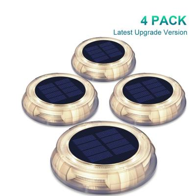Solar Powered 4-Lights Deco Clear LED In-Ground Well Light, Garden Pool Porch Waterproof Warm White LED