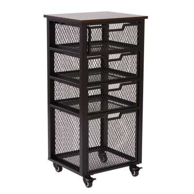 Garret Espresso Wood Top and Black 4-Drawer Rolling Cart