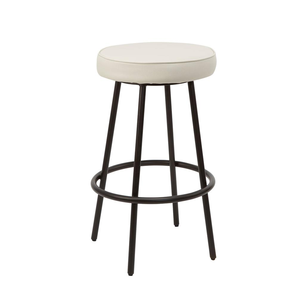 White Carly Metal Upholstered Round Backless Barstool