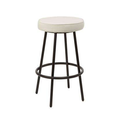 29 in. White Carly Metal Upholstered Round Backless Barstool