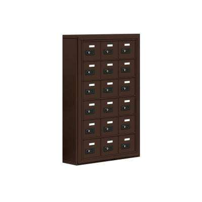 19000 Series 24 in. W x 36.5 in. H x 6.25 in. D 18 A Doors S-Mount Resettable Locks Cell Phone Locker in Bronze