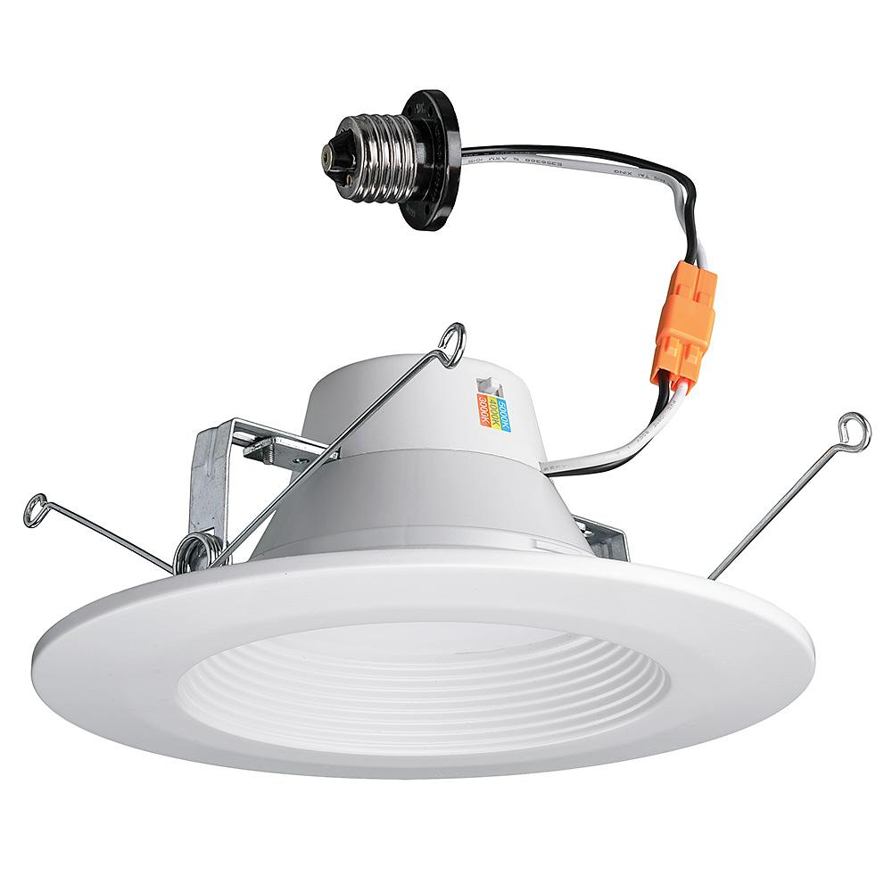 Commercial Electric 5 and 6 in. White Recessed LED Color Changing CCT Downlight,11 Watt, 670 Lumens, 2700-3000-4000K Warm, Bright, Daylight