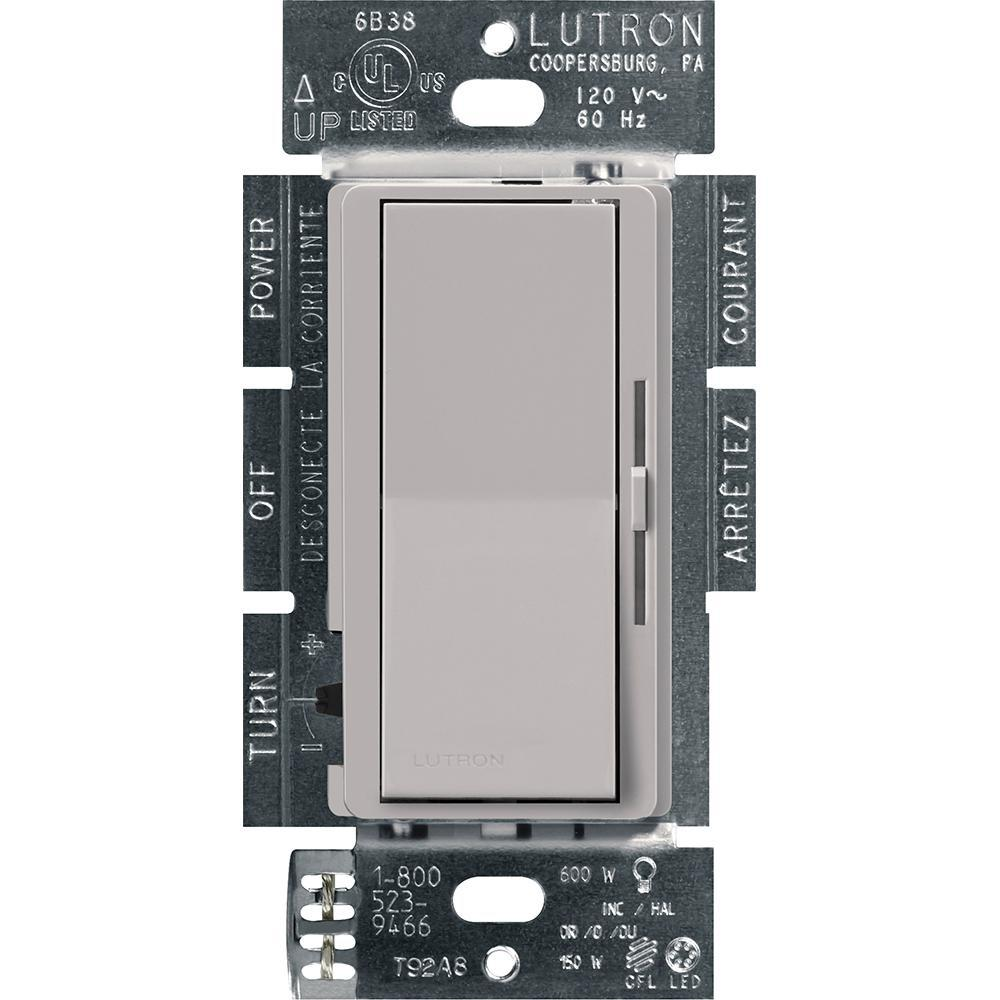 Lutron Diva Led Dimmer Switch For Dimmable Led Halogen And Incandescent Bulbs Single Pole Or 3 Way Gray Dvcl 153p Gr The Home Depot