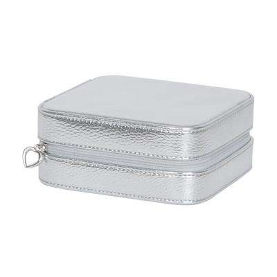 Luna Silver Faux Leather Jewelry Box