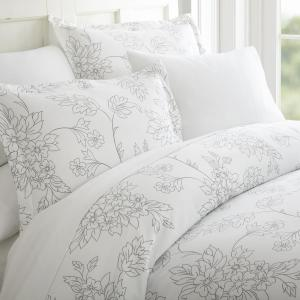Vine Patterned Performance Gray King 3-Piece Duvet Cover Set