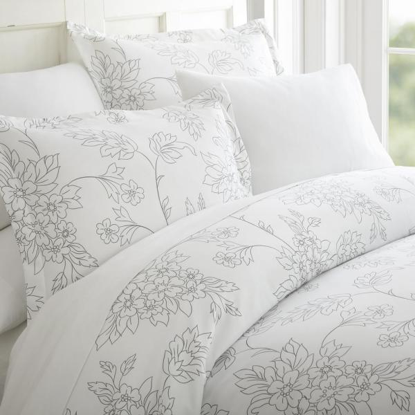 Vine Patterned Performance Gray Twin 3-Piece Duvet Cover Set