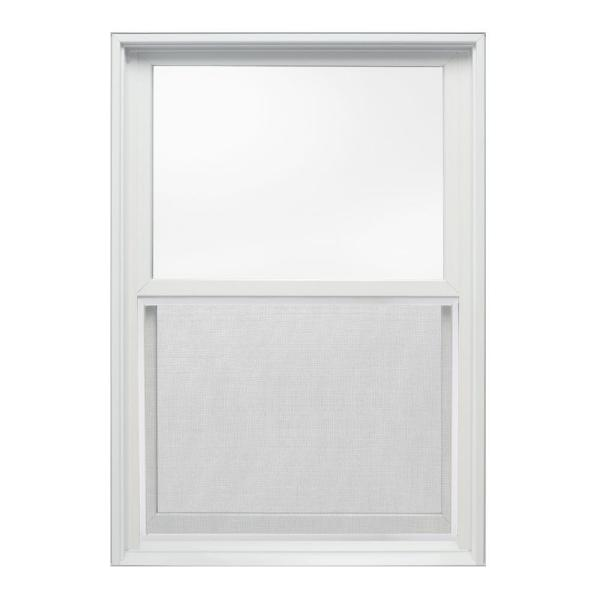 25.375 in. x 36 in. W-2500 Series White Painted Clad Wood Double Hung Window w/ Natural Interior and Screen