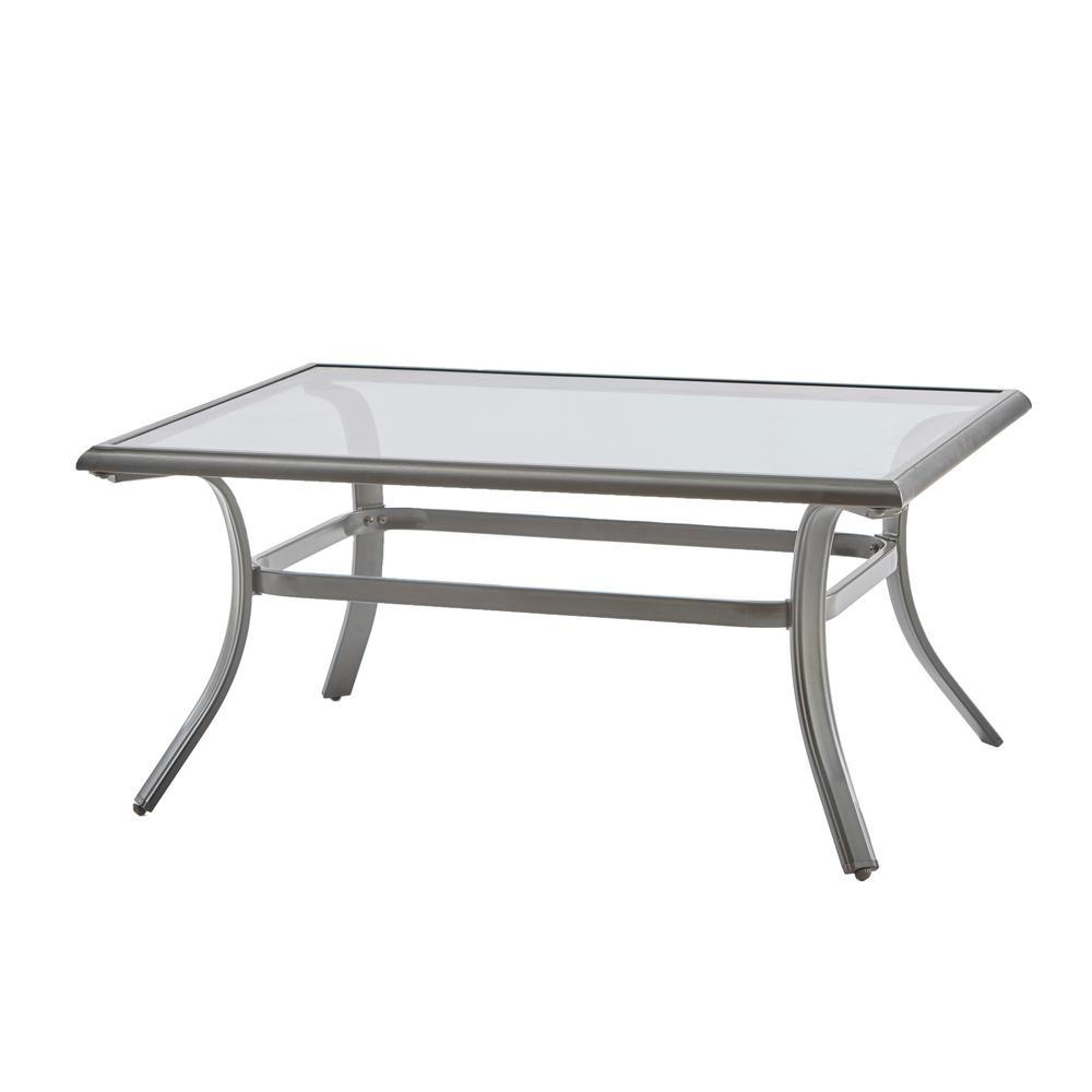 Hampton bay statesville rectangle steel outdoor coffee table ftm70552 the home depot Patio coffee tables