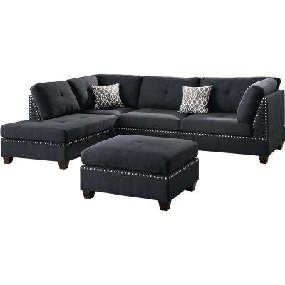 Florence Black Sectional Sofa with Ottoman
