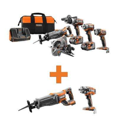 18-Volt Lithium-Ion Cordless 5-Tool Combo w/Bonus OCTANE Brushless Reciprocating Saw & OCTANE Brushless Impact Wrench