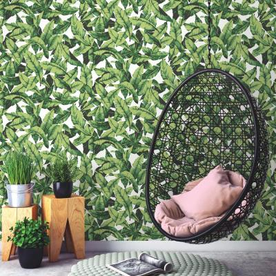 28.18 sq. ft. Green/White Tropical Leaf Peel and Stick Wallpaper