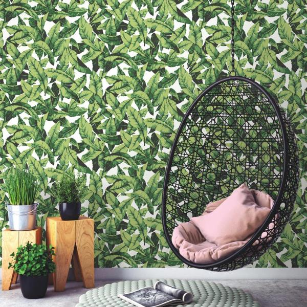 Roommates Tropical Leaf Vinyl Peelable Wallpaper Covers 28 18 Sq Ft Rmk11045wp The Home Depot