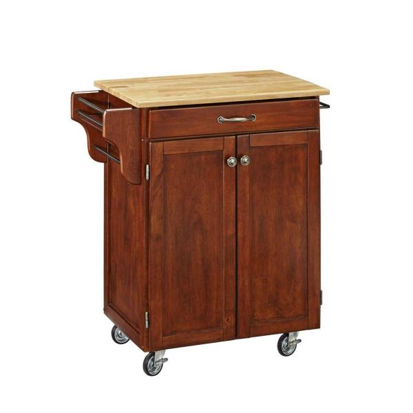 Cuisine Cart Cherry Kitchen Cart with Natural Top