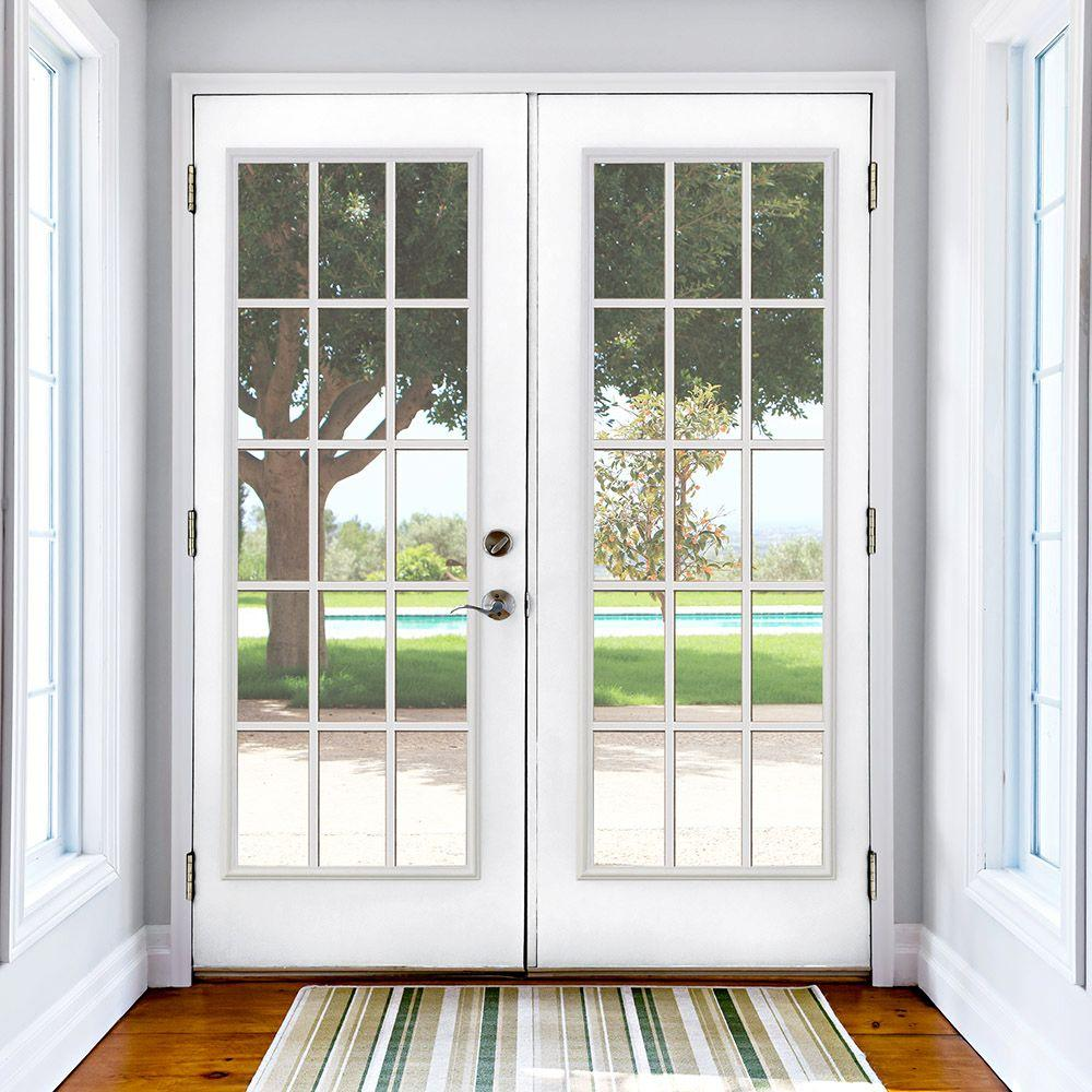 Masonite 72 In X 80 Primed White Steel Prehung Right Hand Inswing 15 Lite Clear Gl Patio Door Vinyl Frame With Brickmold