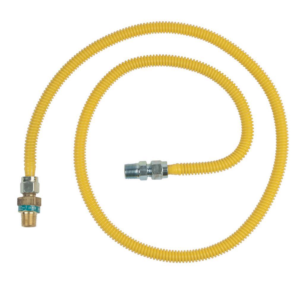 BrassCraft 1/2 in. MIP x 1/2 in. MIP x 60 in. Gas Connector (1/2 in. OD) w/Safety+Plus2 Thermal Excess Flow Valve (53,200 BTU)
